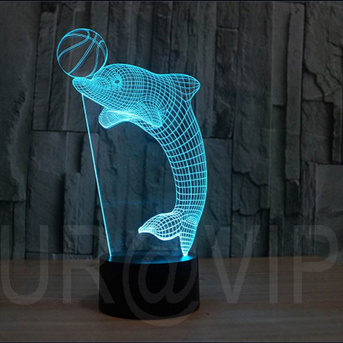 Amazing 3D Illusion led Table Lamp Night Light dolphin - ManSeeManWant
