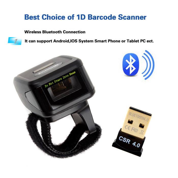 Portable Wearable Ring Barcode Scanner Bluetooth