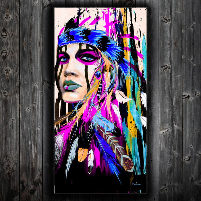 American Indian Girl Abstract Wall Canvas Purple Beauty - ManSeeManWant