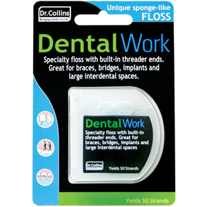 Dr.Collins Dental Work Floss for Implants, Bridges and Interdental Spaces
