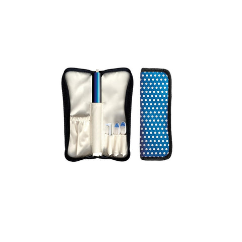 Violight VIOlife Duosonic Traveler Toothbrush - Polka Dot Bag W/Blue Toothbrush - 1