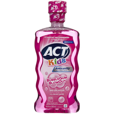Act Kids Anticavity Fluoride BubbleGum Blowout Rinse - Dentist.net