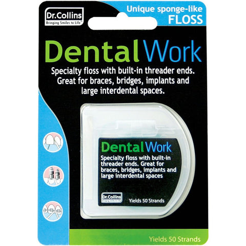 Dr.Collins Dental Work Floss for Implants, Bridges and Interdental Spaces - Dentist.net