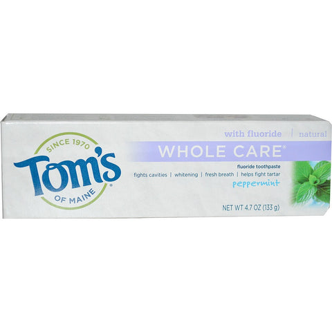 Tom's of Maine Natural Whole Care Toothpaste - Peppermint, 4.7 oz - 1