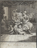 WILLIAM HOGARTH BOOKPLATE     -  COPPER ETCHING      -      ORIGINAL .