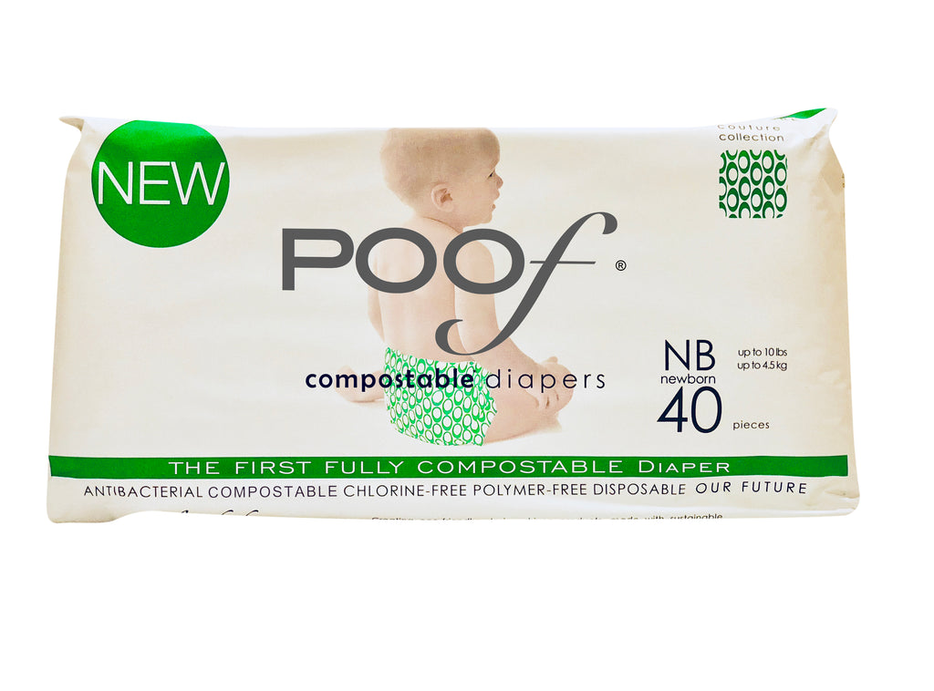 4 packs (1 case) poof diapers 3.0: green loops