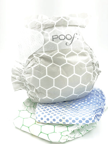 poof diapers- Limited Edition-3 designs (green hex.taupe comb.periwinkle)