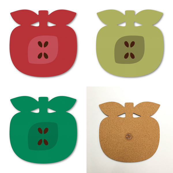 Apple shaped placemats in three retro colours by Beyond the Fridge