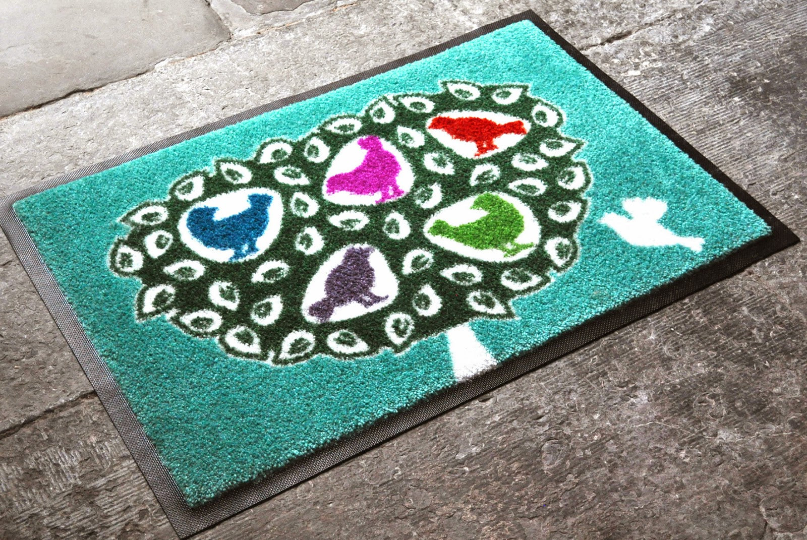 Coloured Birds in a Tree machine washable doormat