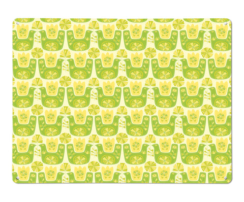 Citrus Bird lemon and lime repeat large magnetic board design by Beyond the Fridge