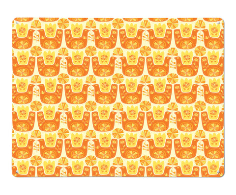 Citrus Bird orange and lemon repeat large magnetic board design by Beyond the Fridge