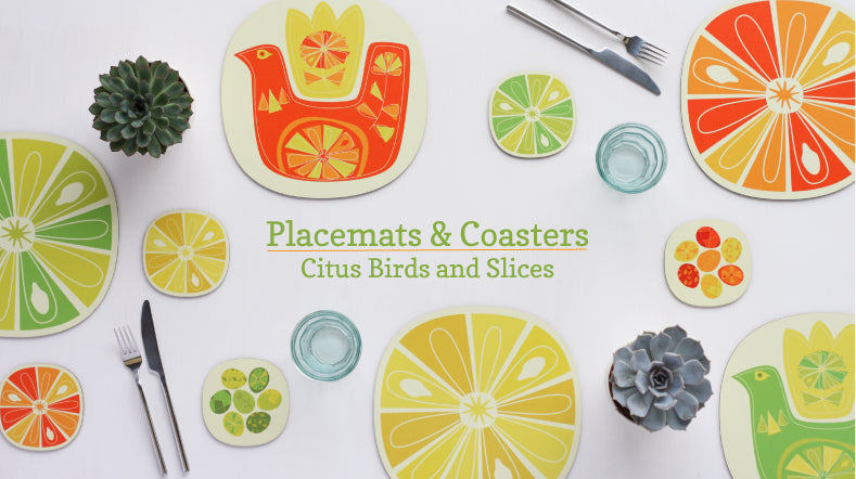 citrus slice and citrus bird design placemats and coasters