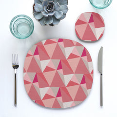 Shards placemat and coaster - cotton candy