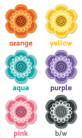 Flower Power design placemats by Beyond the Fridge in six bright colour choices