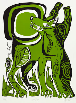 Green Dog Silk Screen Print