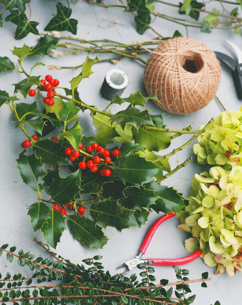 materials for making a holly wreath
