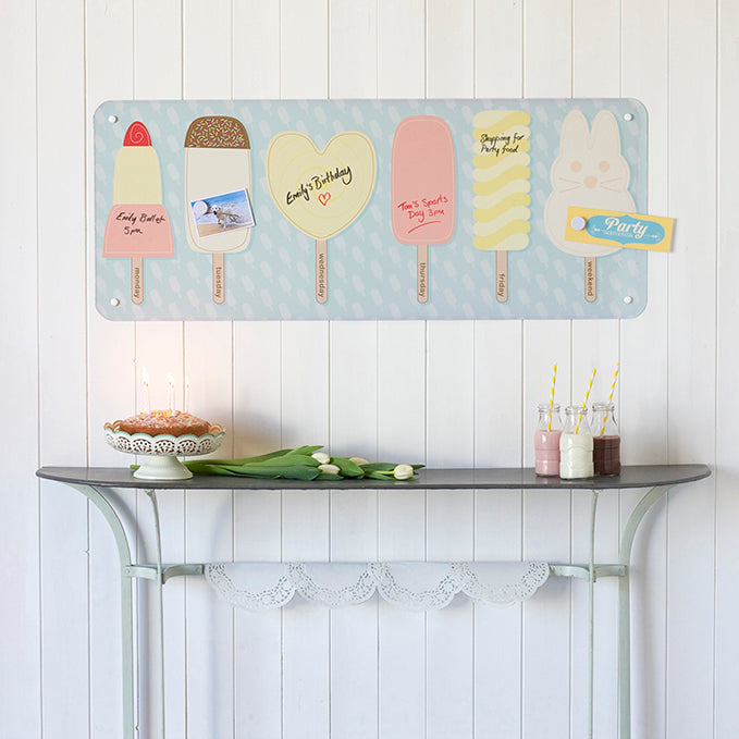 Ice lolly week planner magnetic dry wipe board