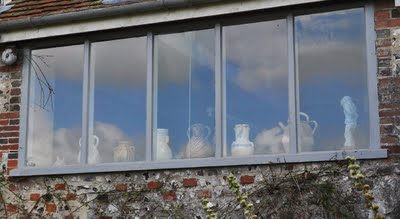 Vases in the window from Charleston House Garden