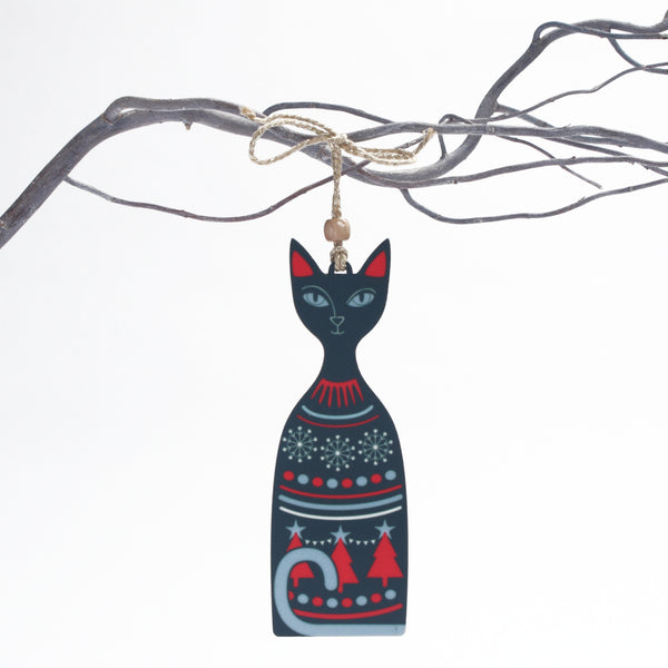Christmas Cat design wooden Christmas tree decoration in a dark green colour way designed and made by Beyond the Fridge
