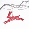 Leaping hare christmas tree decoration - red
