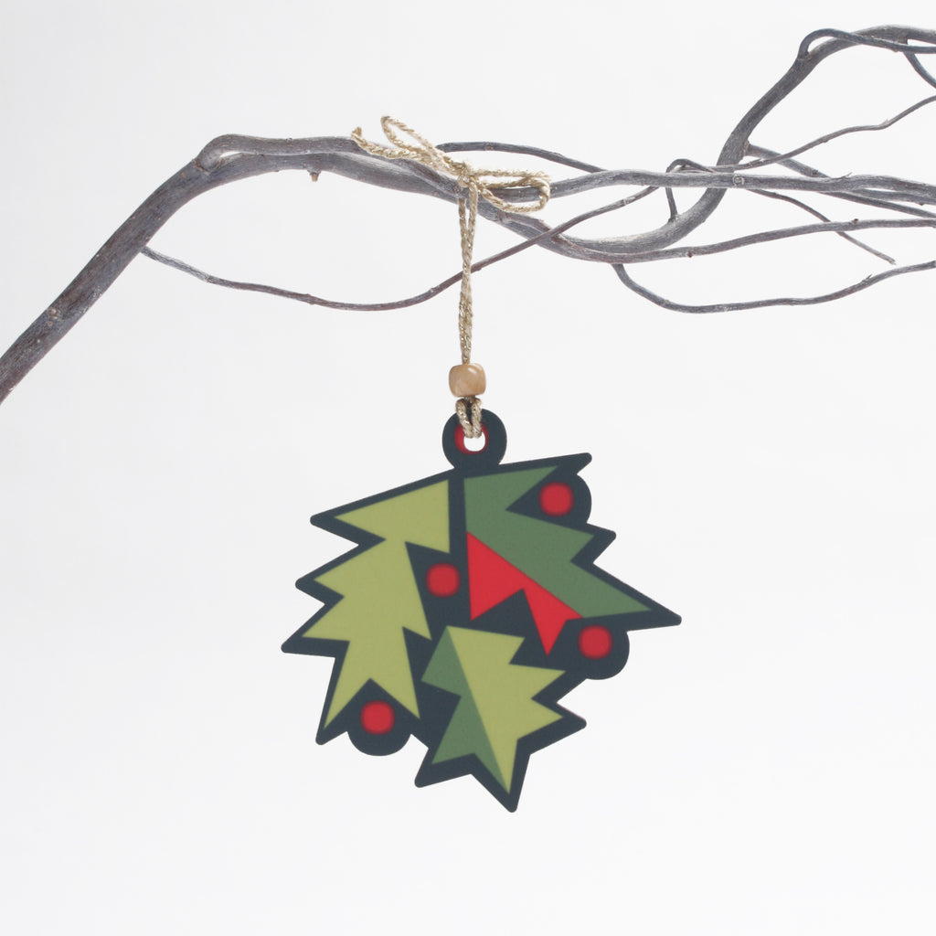holly design wooden christmas tree decoration by beyond the fridge