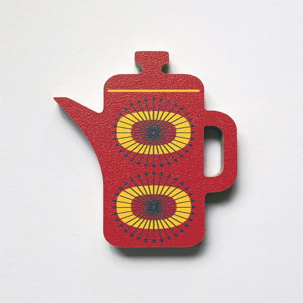 Red Coffee Pot Fridge Magnet by Beyond the Fridge