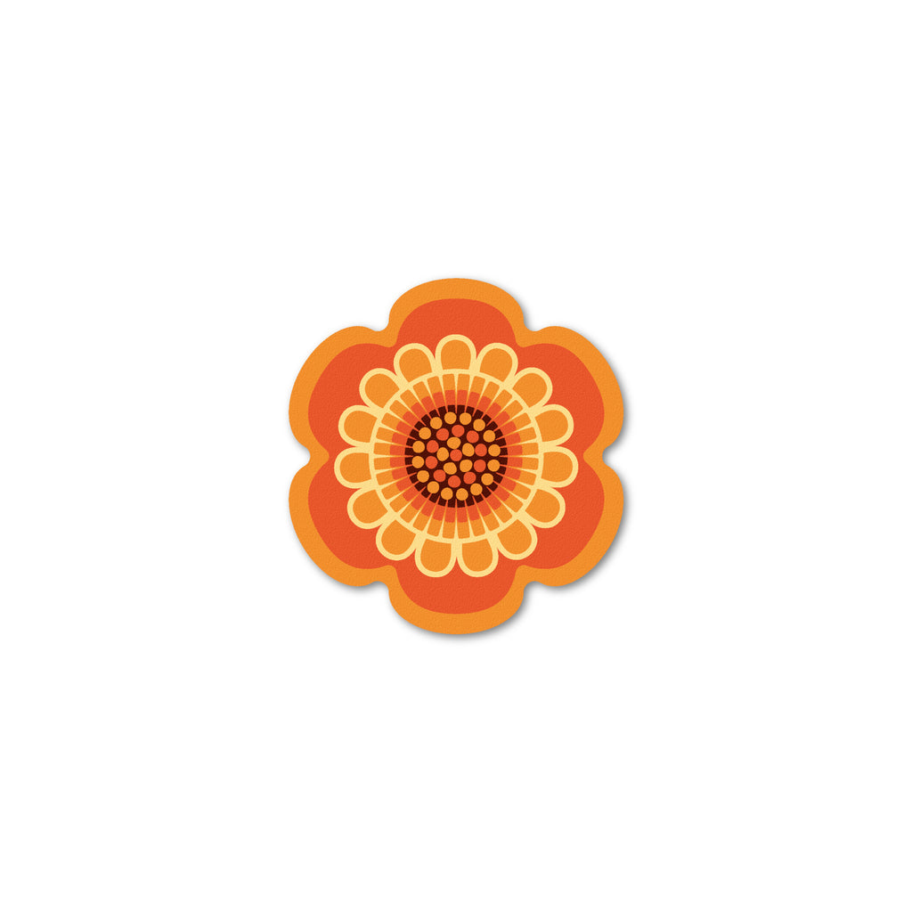 Orange retro flower power design coaster by Beyond the Fridge