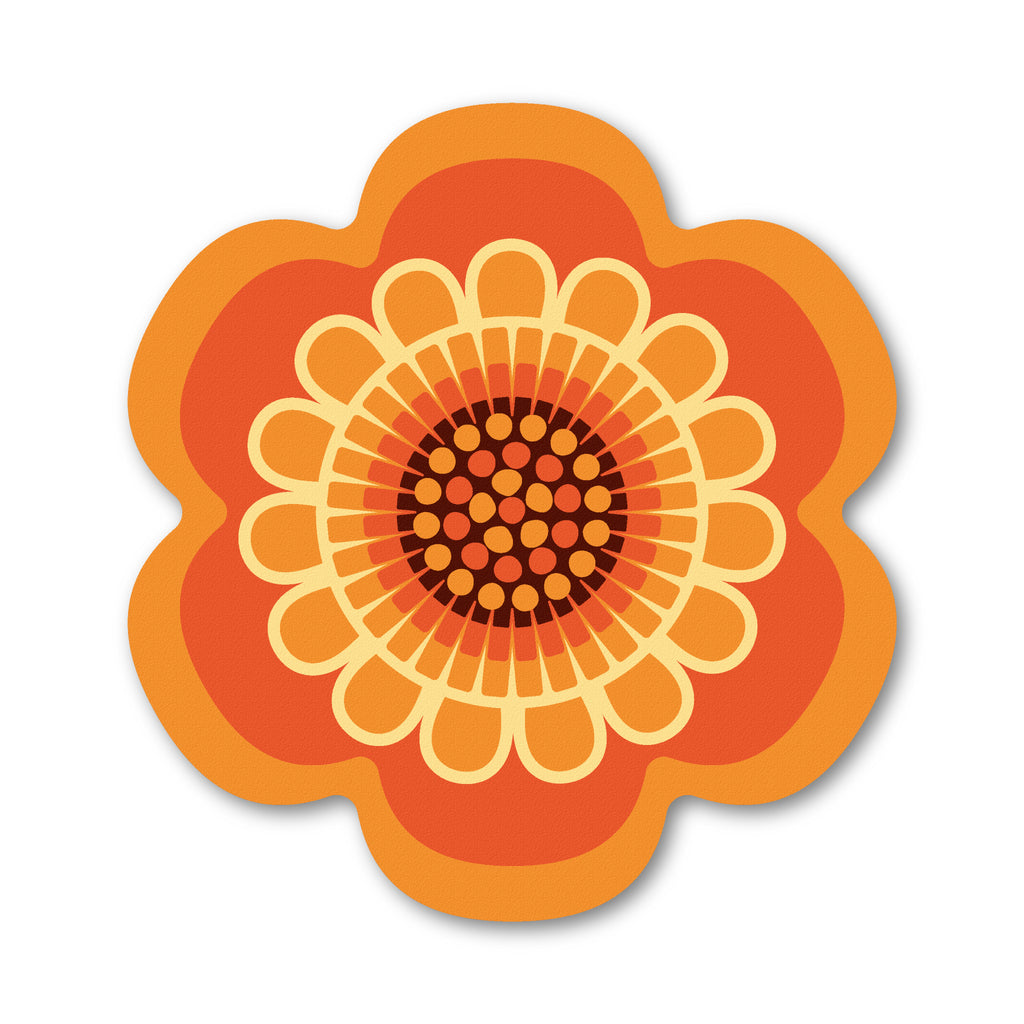 Orange retro flower power design placemat by Beyond the Fridge