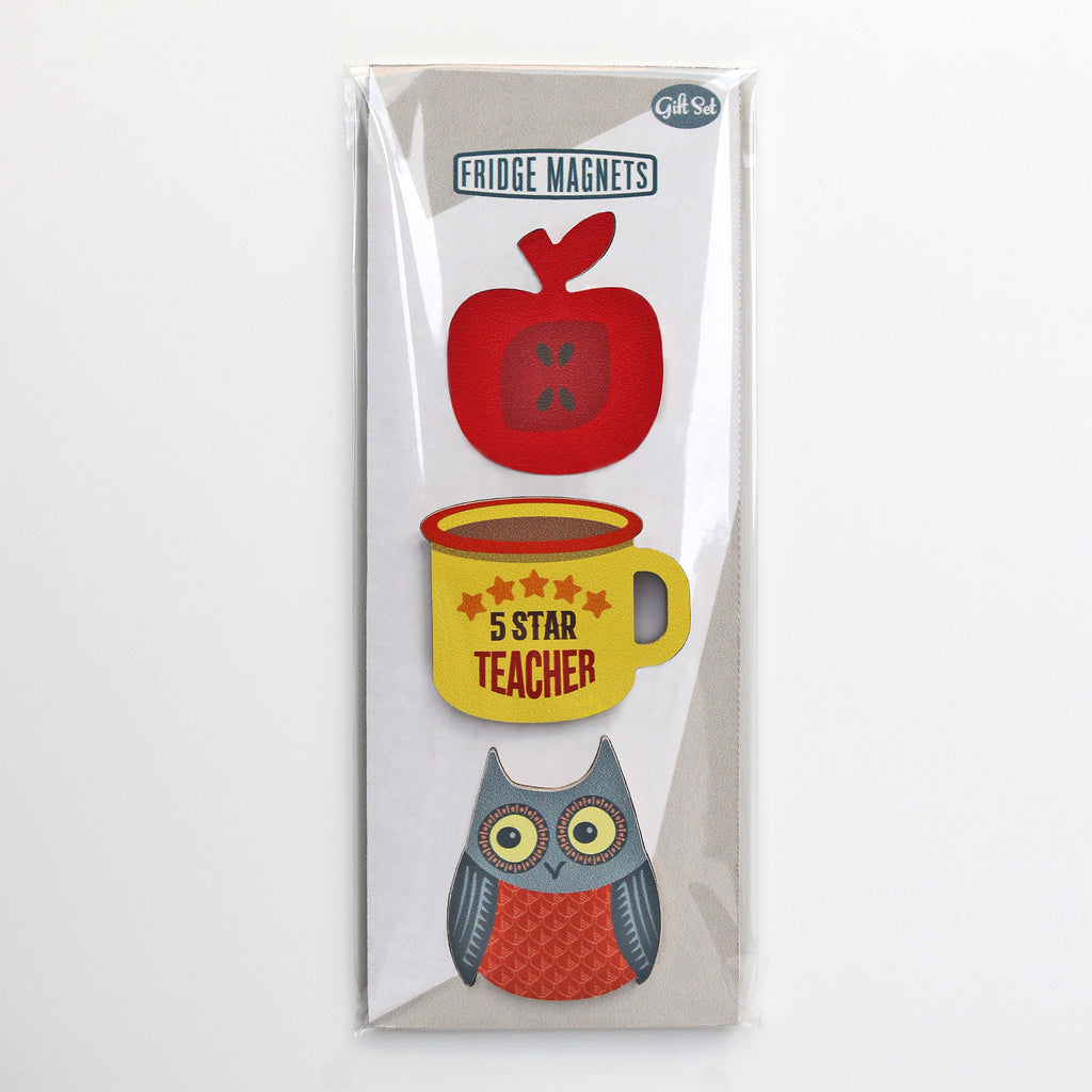 A gift set of three magnets for teachers including an enamel mug design, apple and owl