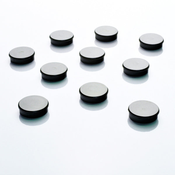 25mm Black Round Fridge Magnets - 10 pack