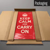 Red Keep Calm and Carry On magnetic board in packaging