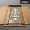 Brown Keep Calm and Carry On magnetic board in packaging