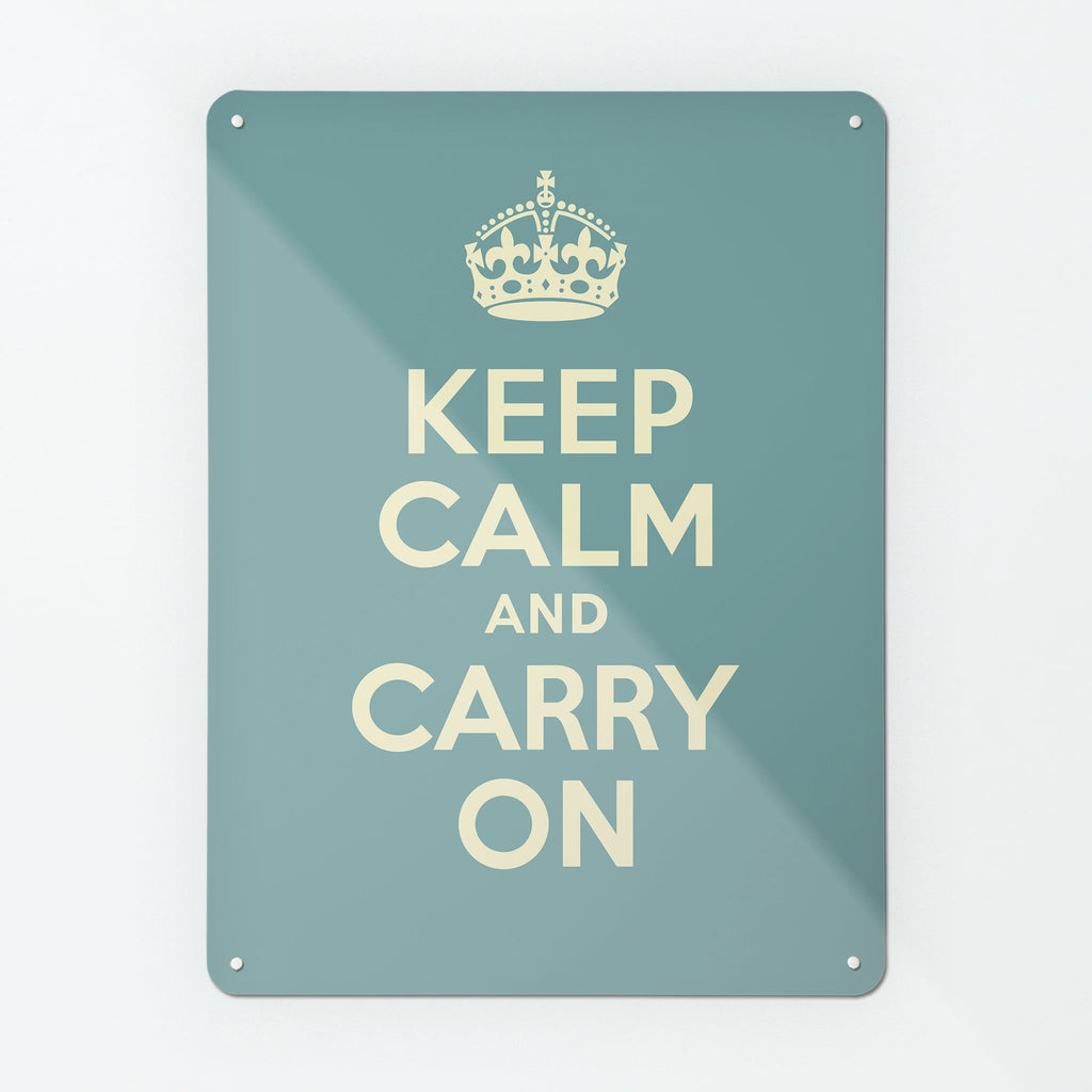 Keep Calm And Carry On Blue Magnetic Notice Board