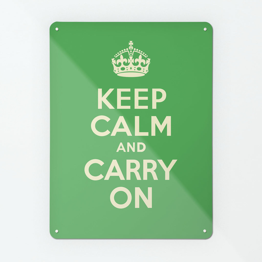 Keep Calm And Carry On Green Magnetic Notice Board