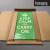 Green Keep Calm and Carry On magnetic board in packaging