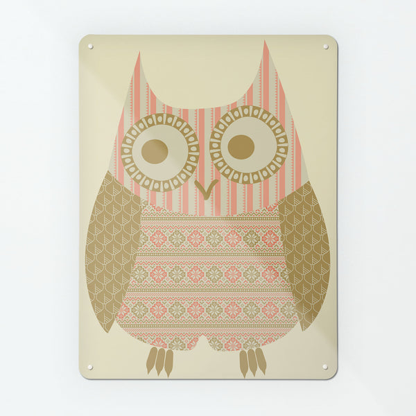 Fair Isle Owl Olive/Coral Magnetic Notice Board