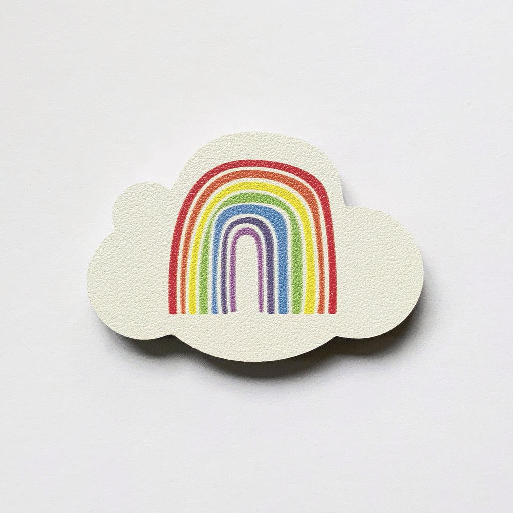 rainbow and cloud design plywood fridge magnet