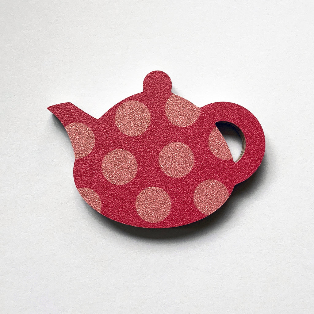 Pink Spotty Teapot Fridge Magnet by Beyond the Fridge