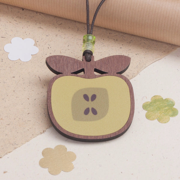 apple design wooden pendant necklace in golden delicious colour