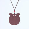 apple design wooden pendant necklace view from back