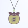 golden delicious apple design walnut pendant necklace