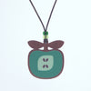 green apple design walnut pendant necklace