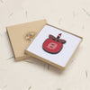 red apple design wooden pendant necklace in gift box