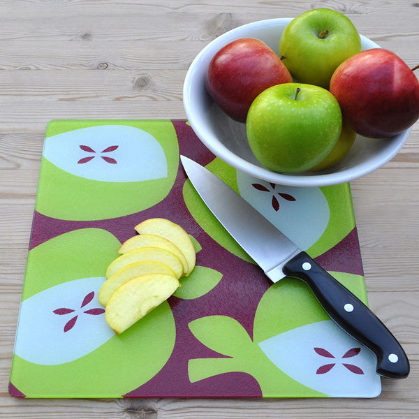 Green Apples Glass Chopping Board