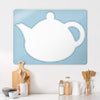 Appliqué Teapot on blue gingham Magnetic Board in a kitchen setting