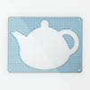 Applique Teapot on Blue Gingham - Large Magnetic Dry Wipe Board