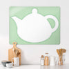 Appliqué Teapot on green gingham Magnetic Board in a kitchen setting