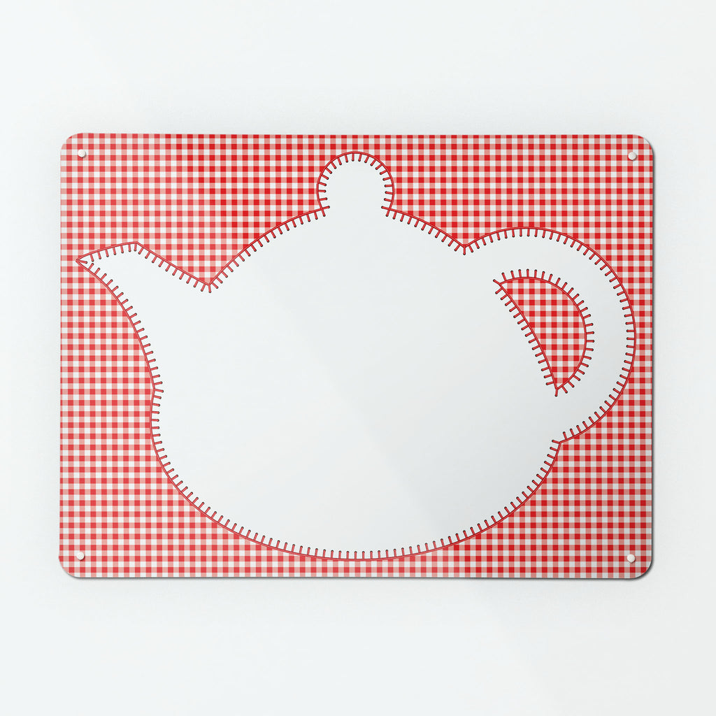 Applique Teapot on Red Gingham - Large Magnetic Dry Wipe Board