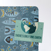 aquarium design magnetic notice board with a postcard attached with a fish fridge magnet