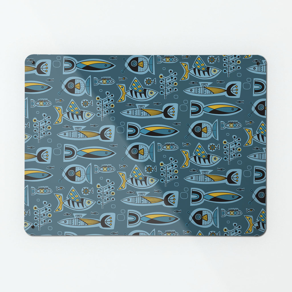 Mid Century inspired Aquarium Design Magnetic Board Metal Wall Art Panel in Deep Blue by Beyond the Fridge